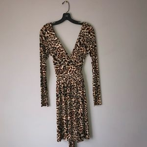 Moda International Long Sleeved Cheetah Wrap Dress